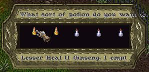 Screenshot of Menu Gump (potions)